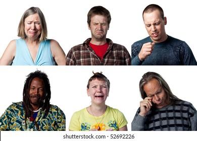 Group of six sad, crying individuals