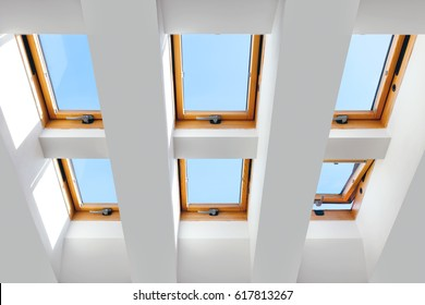 group of the six skylights windows. Large, luxury skylights.