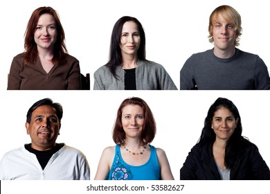 group of six smiling expressions from diverse group of people