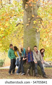 Group Of Six Teenage Friends Leaning Against Tree In Autumn Park