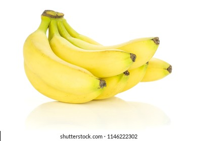 Group of six whole fresh yellow banana one cluster flatlay isolated on white background