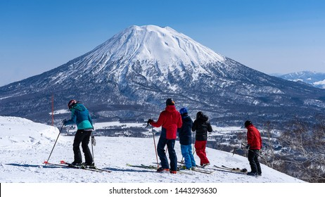 Group Ski on snow mountain