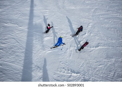 Group of skiers on the ski slope.