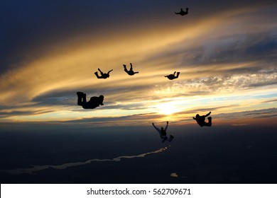 The group of skydivers in the sunset sky.