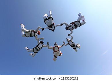 Group skydiving in the summer sky.