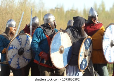 Group of slav warriors in reenactment battle rehearsal training