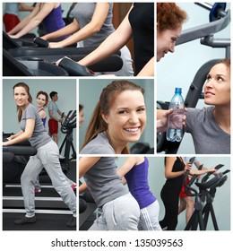 Group of slim women exercising on sport machines