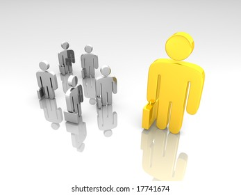 a group of small business pictograms and a large one