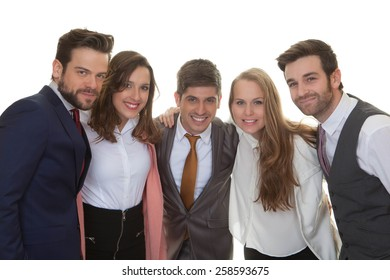 group of smart happy young business team