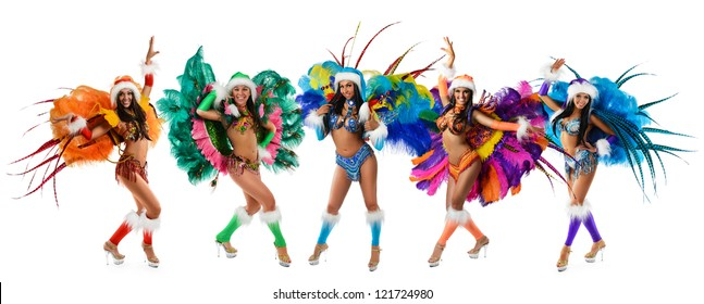 Group of smiling beautiful girls in a colorful carnival costume