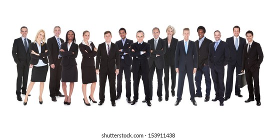 Group Of Smiling Business People Isolated Over White Background