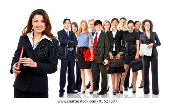Group of smiling business people. Business team. Isolated over white background
