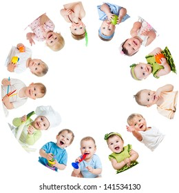 Group of smiling kids babies children arranged in circle
