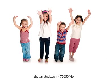 Group of smiling kids over white background