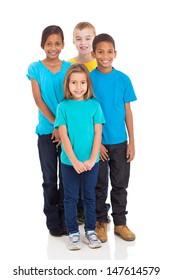 group of smiling kids standing together on white background