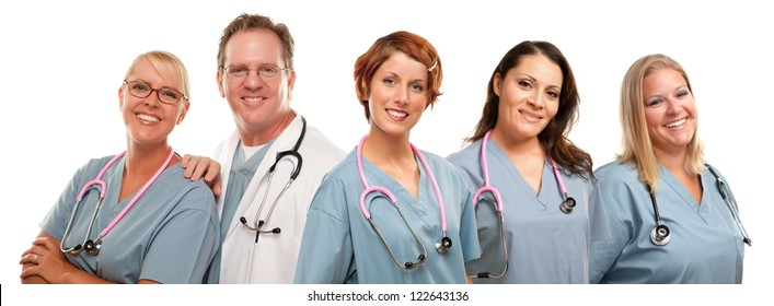 Group of Smiling Male and Female Doctors or Nurses Isolated on a White Background.