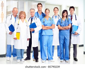 Group of smiling medical doctors. Health care.