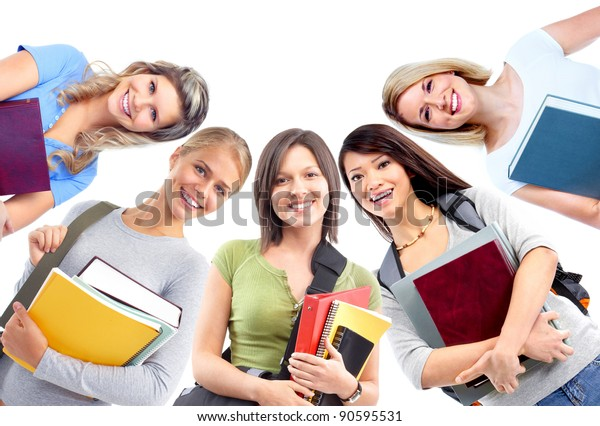 Group of smiling  students girls. Isolated over white background