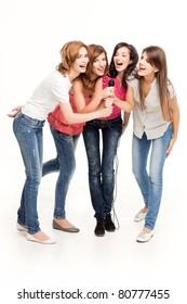 group of smiling women having fun singing