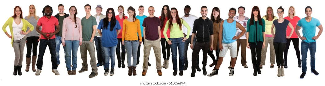 Group of smiling young people happy multi ethnic isolated on a white background