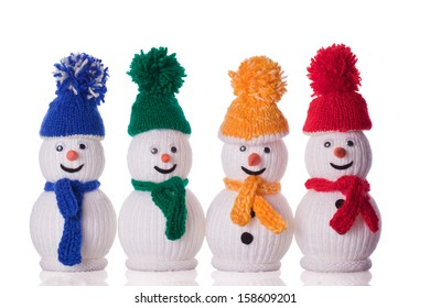 group of snowman with hat and scarf