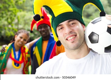 group of soccer fans,