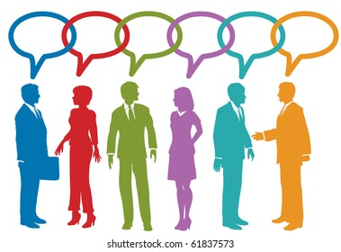 Group of social media or business people talk speech bubble link chain