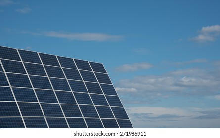 Group of Solar energy  panels creating electricity from the sun.  Solar panels are one of the best renewable energy sources helping saving the environment.