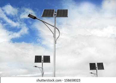 group of solar powered street lights