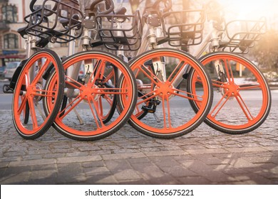 group of some bicycles for rent in Berlin
