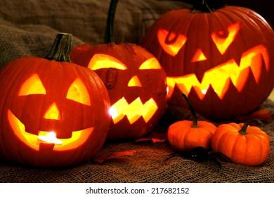 Group of spooky Halloween Jack o Lanterns
