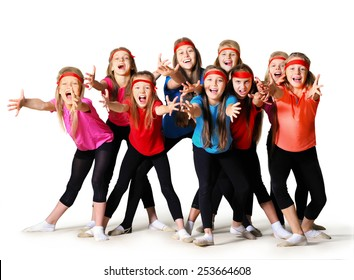 Group of sporty girls isolated on white