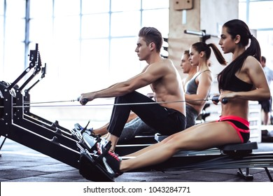 Group of sporty muscular people are working out in gym. Cross fit training. Paddling training apparatus. Side view of four sportsmen are rowing together.