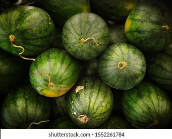 Group stack of green watermelons