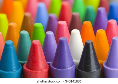 Group of Stacked Pile of Crayons Top View.