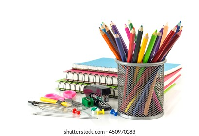 Group of stationery set - notebook coloring pencils on white background