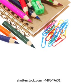 Group of stationery tools iolated on white background