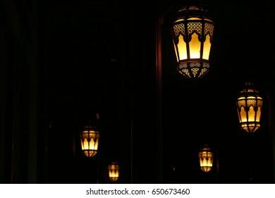 group of street lamps, ramadan lantern display in night