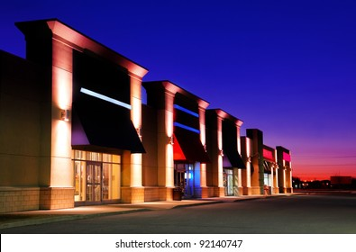 Group of strip mall stores