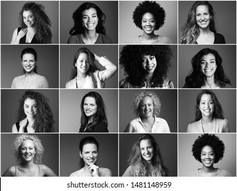 Group of strong women in front of a white background