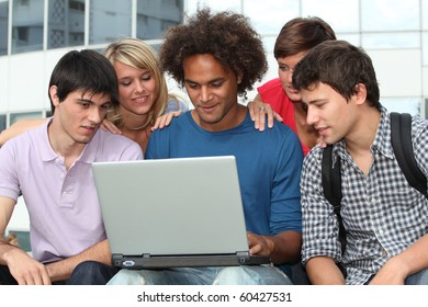 Group of student with laptop computer