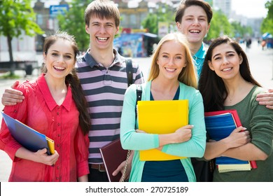 Group of student with notebook outdoor