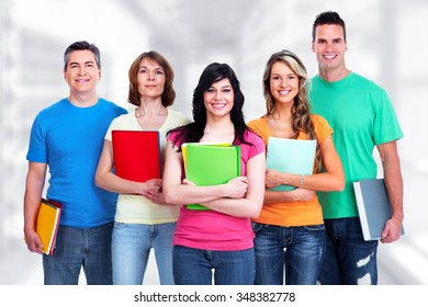 Group of student over blue abstract background.