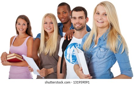 Group of students. All on white background.