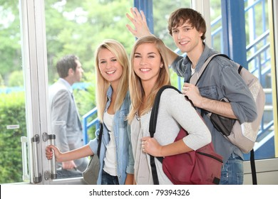 Group of students at college entrance