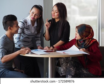 A group of students in discussion