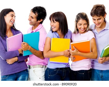 Group of students holding notebooks and smiling - isolated over a white background