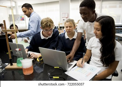 Group of students laboratory lab in science classroom