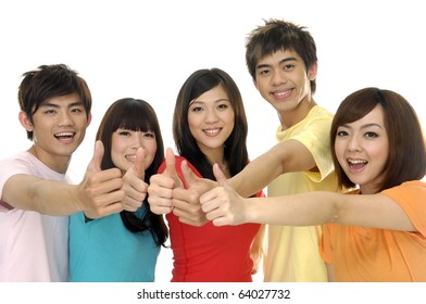 Group of students laughing and giving the thumbs-up sign.