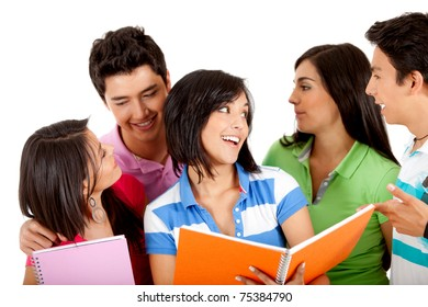 Group of students with notebooks and talking - isolated over white